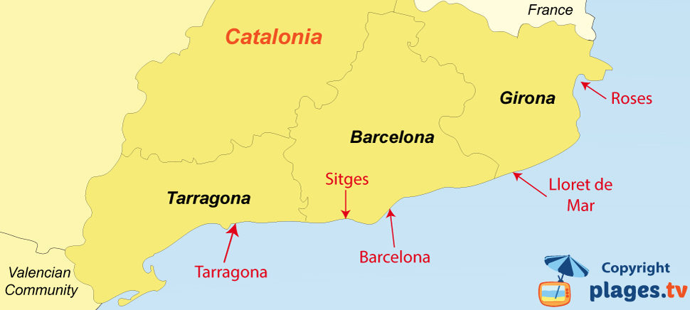 Map of beaches and resorts in Catalonia in Spain