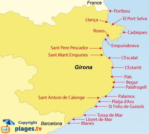 Beaches in Girona in Spain The seaside resorts of Girona Plagestv