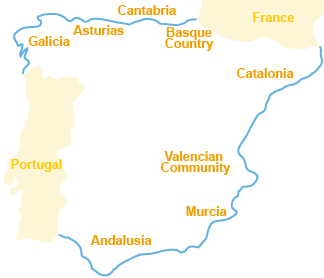 Map of the spain beaches and seaside station