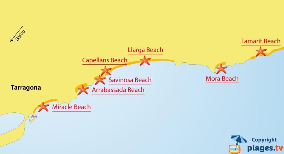 Map of Tarragona beaches in Spain