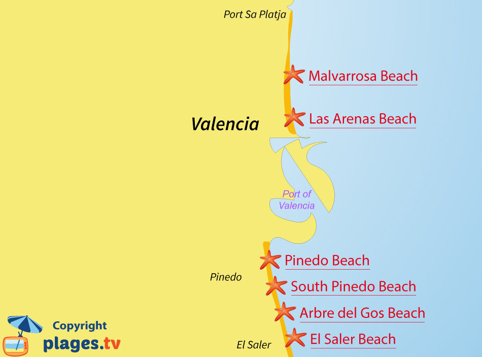 Map Of Spain Valencia Region.Beaches In Valencia Valencia Region Spain Seaside Resort Of