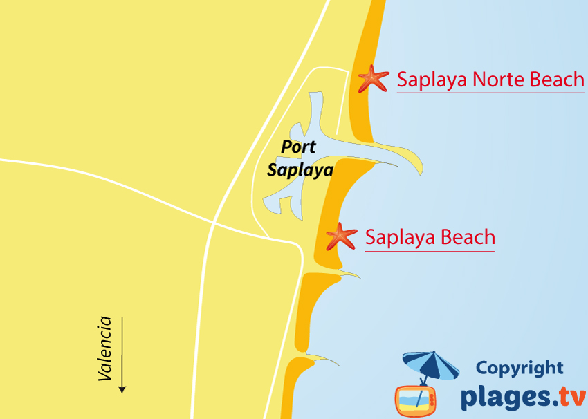 Map of Port-Saplaya beaches in Spain