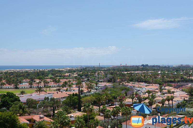 Vue aérienne de Maspoalomas à Gran Canaria