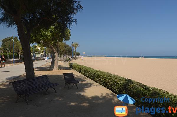 Promenade piétonne le long de la plage et de la vieille ville à Malgrat de Mar
