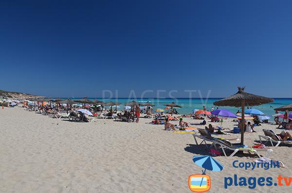Plage de sable blanc avec une mer turquoise - Arenals à Playa Migjorn - Formentera
