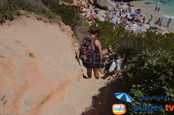 Accès à la plage de Calo del Moro à Majorque