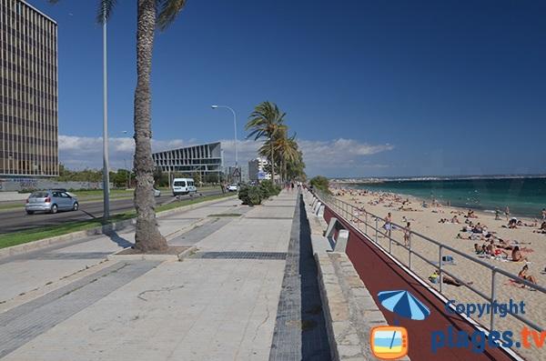 Pedestrian promenade along the beach of Palma de Mallorca - Ca'n Pere Antoni