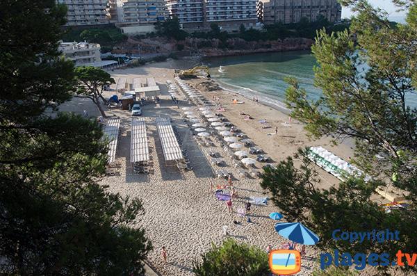 Chaises longues à louer sur la plage des Capellans - Salou