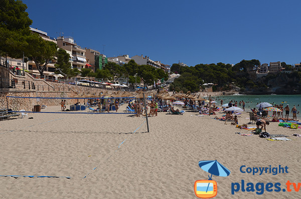 Beach volley sur la plage du centre de Porto Cristo à Majorque - Baléares