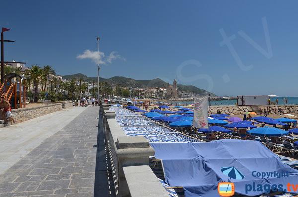 Beach and pedestrian promenade of Sitges - Spain