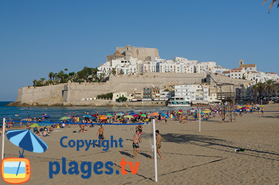 Castle and beach of Peniscola in Spain