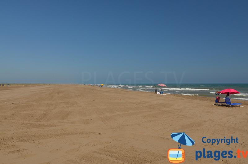 La plage d'Els Muntells au delta d'Ebre