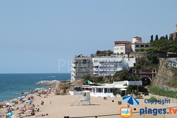 Sant Pol de Mar en Espagne vue depuis la plage
