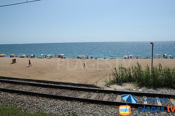 Voie ferrée et plage de Sant Pol de Mar