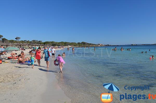 Baignade sur la plage d'Es Dolc à Colonia de Sant Jordi