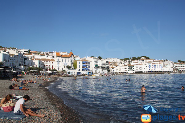 Stones beach in Cadaques in the city centre