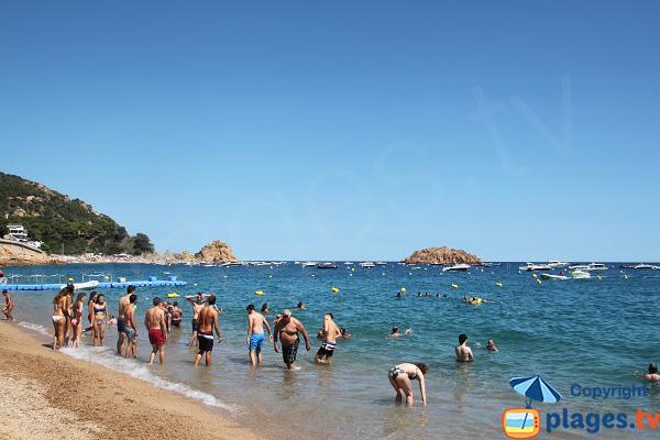 Swimming on the beach of Tossa de Mar - Spain