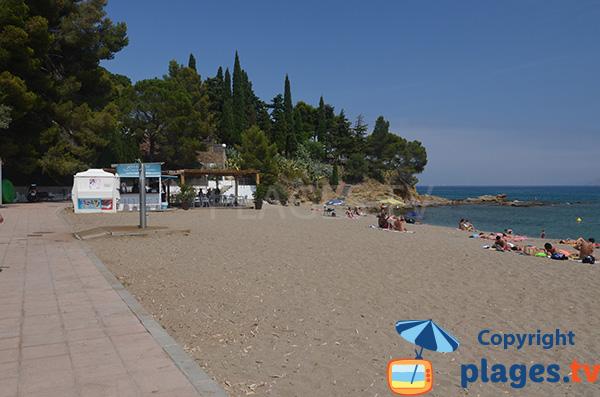 Paillote sur la plage de Grifeu à Llança en Espagne