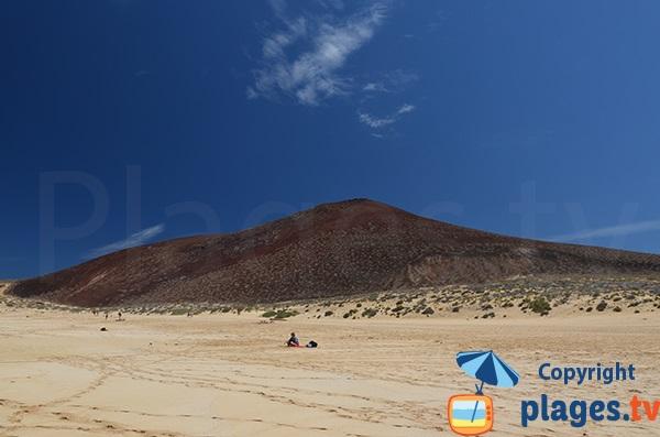 Volcano at La Graciosa near the beach of Las Conchas