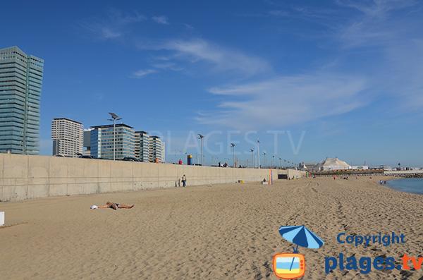 Environnement de la plage du Llevant à Barcelone