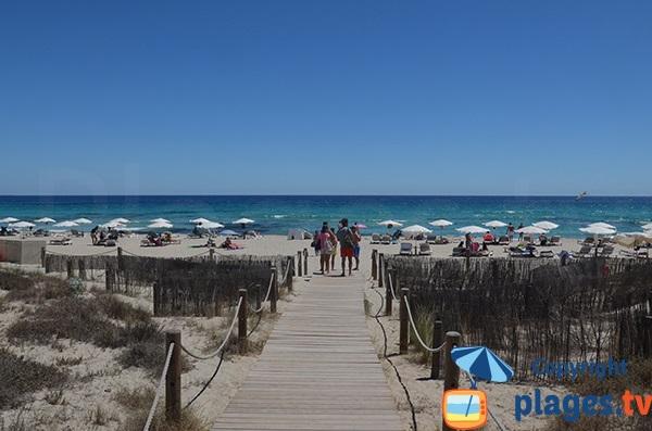Accès de la plage du Llevant à Formentera - Espagne