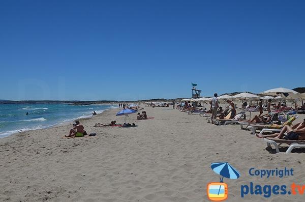 Plage du Llevant à Formentera - zone surveillée