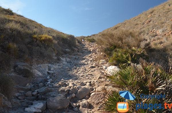 Sentier de la plage de Los Muertos en Espagne