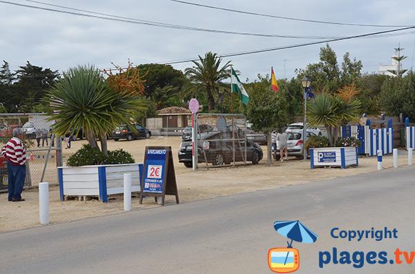 Parking payant de la plage du phare à Los Canos de Meca