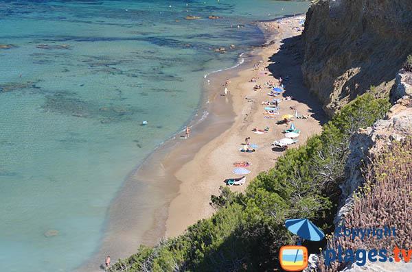 Plage naturiste à l'est d'Ibiza