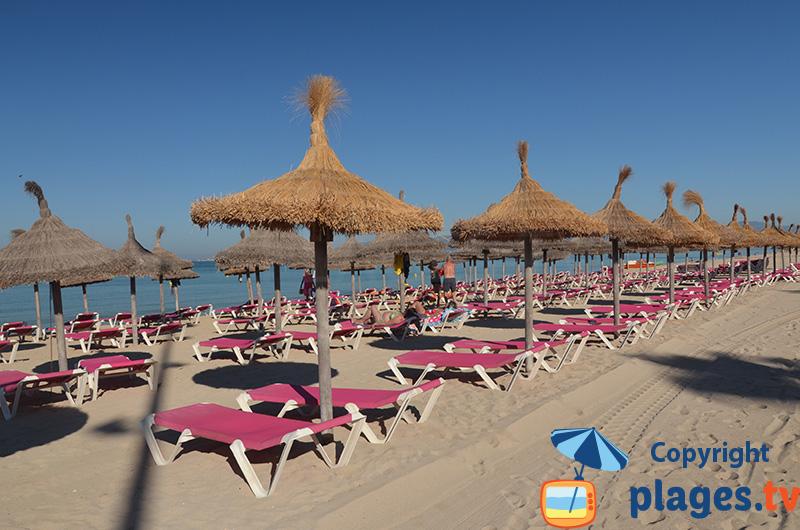 Plage envahie par les parasols à Palma de Majorque