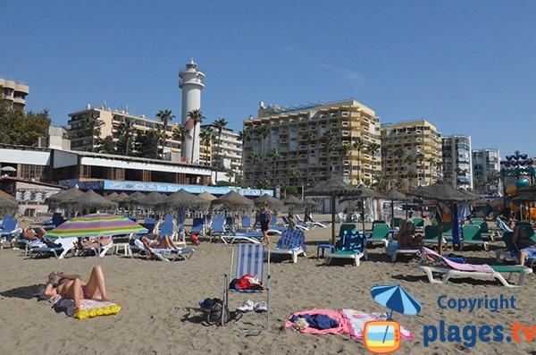 Phare de Marbella depuis la plage