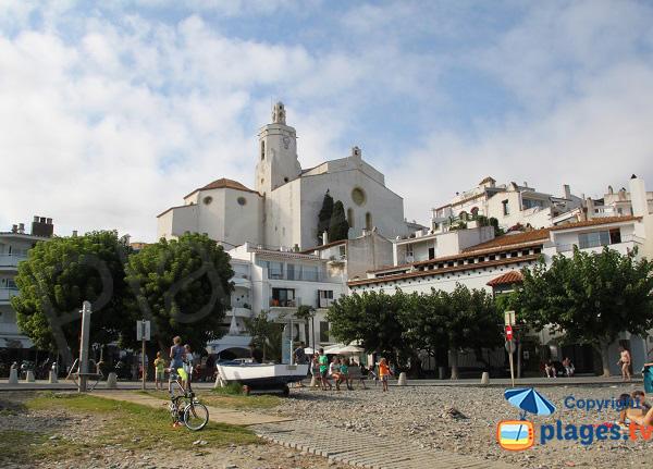 Church of Santa Maria de Cadaques seen from the beach