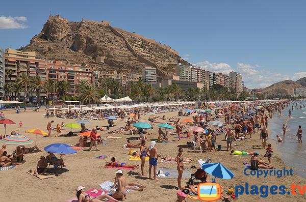 Plage de Postiguet à Alicante en Espagne