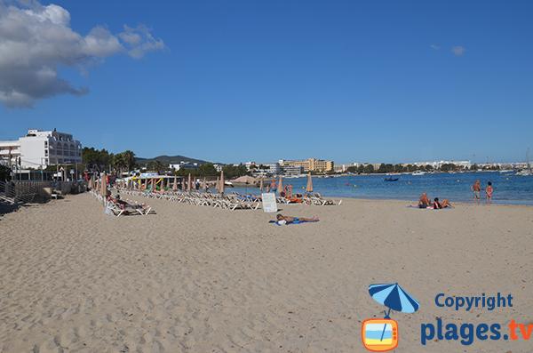 Plage des Pouet à Sant Antoni de Portmany à Ibiza