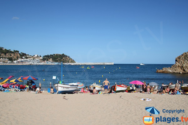 Photo de la plage de Blanes avec vue sur le port de plaisance
