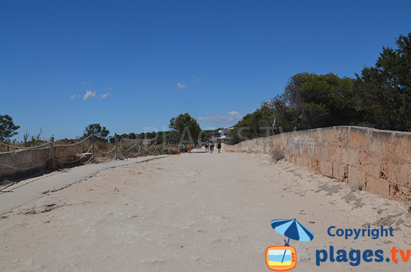 Accès à la plage de s'Arenal d'en Tem - Ses Covetes - Majorque
