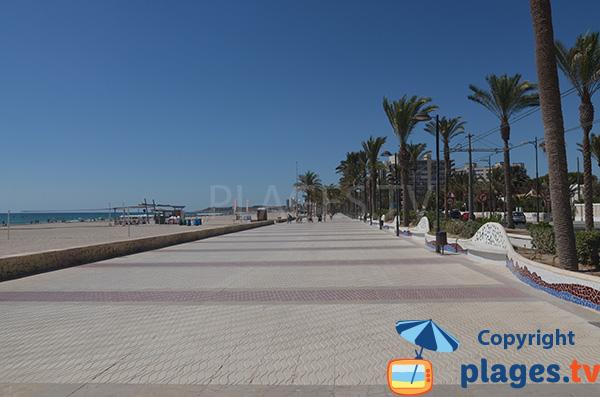 Promenade piétonne le long de la plage de San Juan à Alicante