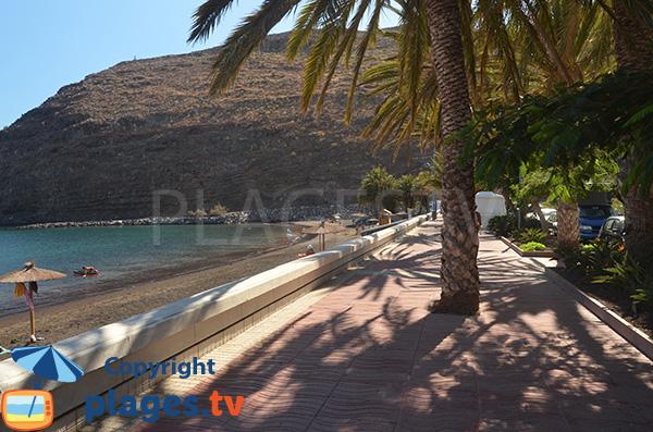 Promenade ombragée à côté de la plage de San Sebastian - La Gomera
