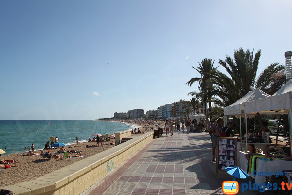 Promenade le long de la plage de Blanes en Espagne