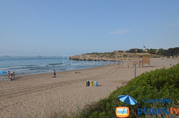 Environment of the beach of Savinosa in Tarragona in Spain