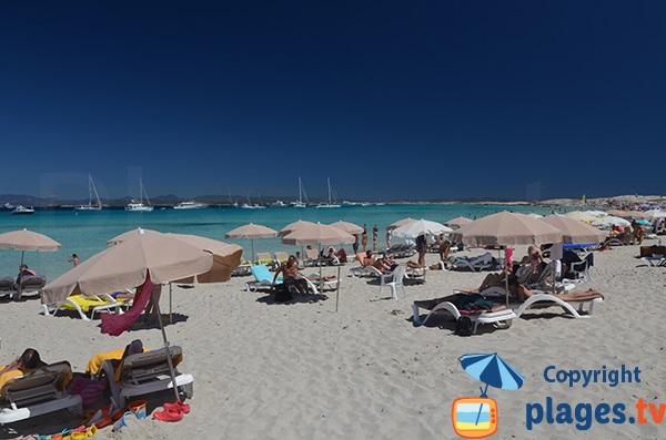 Zone privée sur la plage de Formentera - Ses Illetes