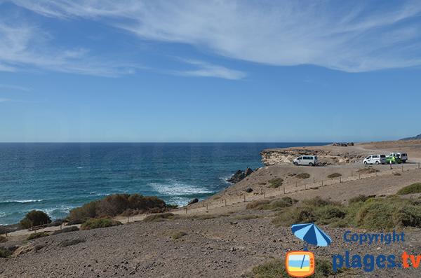 Parking de la plage de Viego Rey à Fuerteventura - Canaries