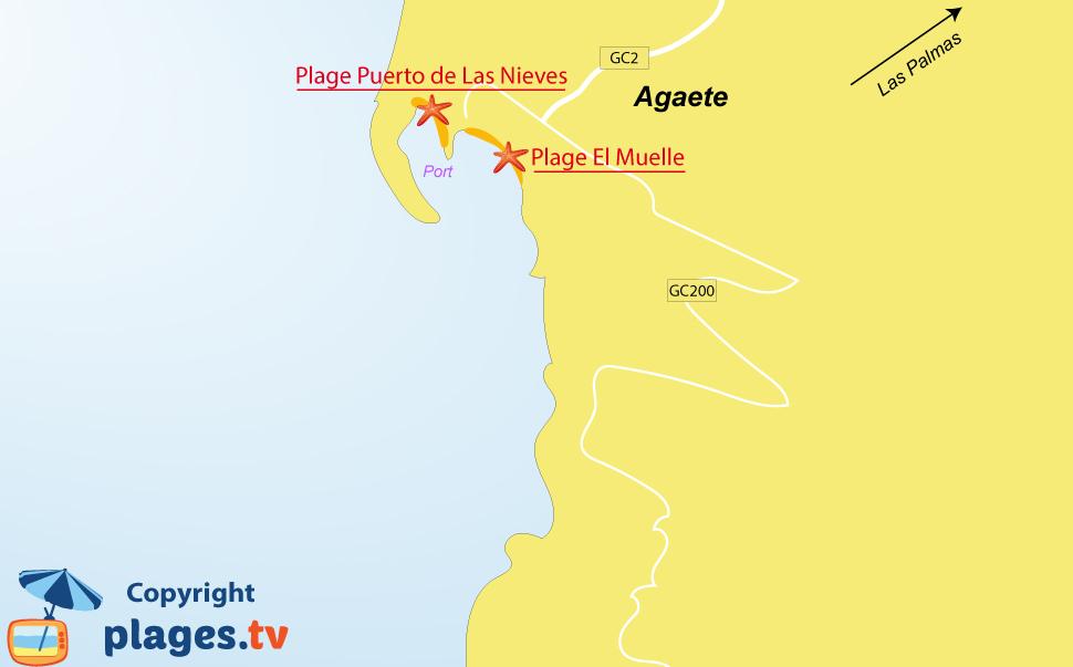 Plan des plages d'Agaete à l'ouest de Gran Canaria
