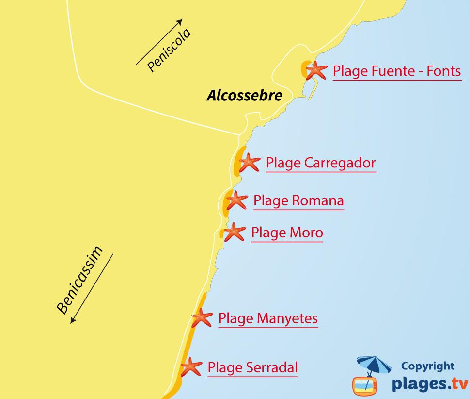 Plan des plages d'Alcossebre en Espagne