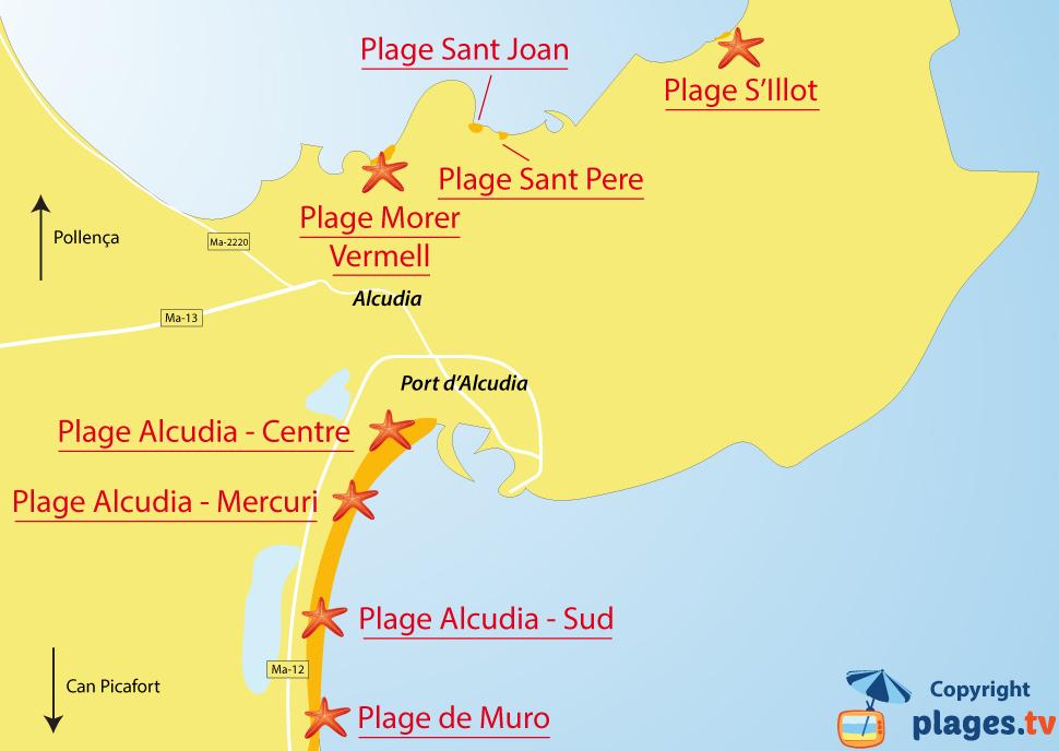 Plan des plages d'Alcudia dans le nord de Majorque - Baléares