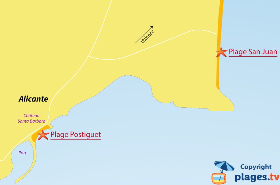 Plan des plages à Alicante en Espagne