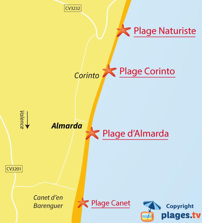 Plan des plages d'Almarda et de Corinto en Espagne
