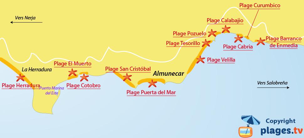 Plan des plages à Almunicar en Andalousie - Espagne