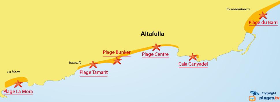 Plan des plages d'Altafulla en Espagne - nord de Tarragone