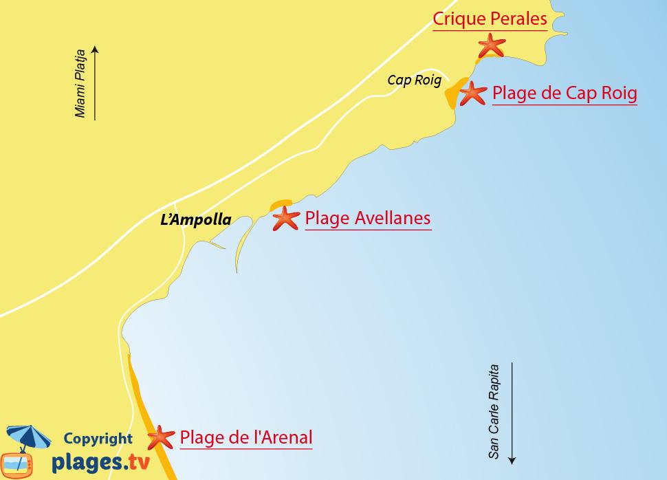 Plan des plages de l'Ampolla en Espagne